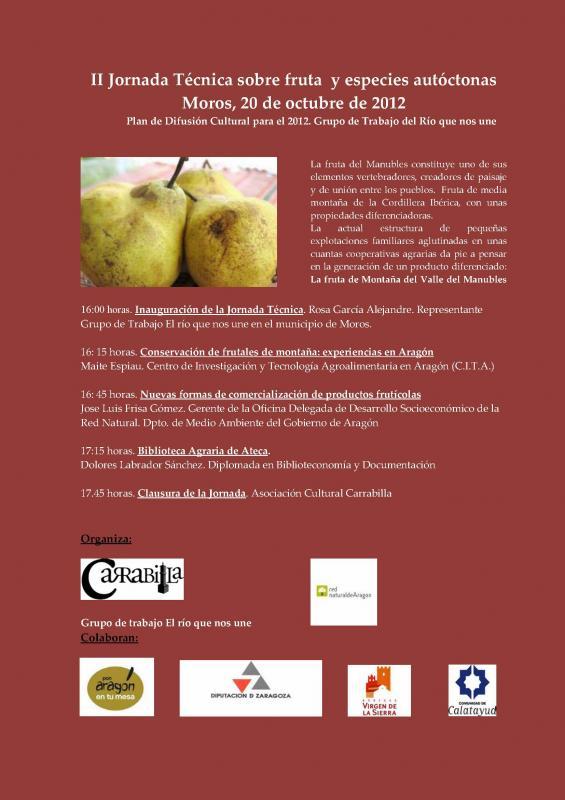 Cartel de la jornada sobre fruta y especies autóctonas del Manubles.
