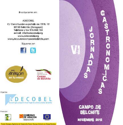 Cartel de las VI Jornadas Gastronómicas Campo de Belchite.