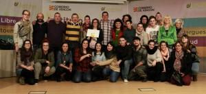 Jóvenes y profesionales de JDR en la entrega del premio